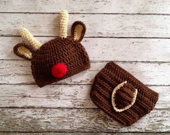 Little Mr. Reindeer Beanie and Matching Diaper Cover in Chocolate Brown, Tan and Red Available in Newborn to 24 Month Size- MADE TO ORDER