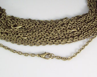 "100 24"" Antique Bronze ROLO Chain Necklaces with Lobster Clasp 3mm"