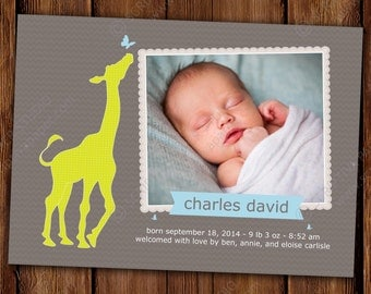 Modern Baby Announcement with Photo- Boy or Girl - Curious Giraffe - Printable or Printed Invitations