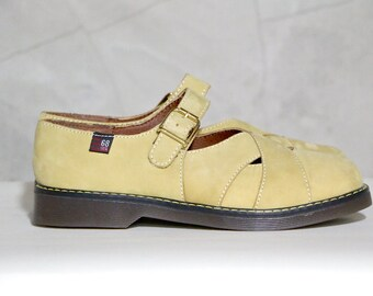 mary janes, 90's Esprit mustard yellow suede criss cross chunky heel mary jane shoes, womens 5.5, 35.5