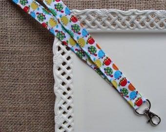 Fabric Lanyard - Bright Mini Turtles on White