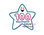 One Hundred Days Smarter School Star Machine Applique Embroidery Design, Mulitple Sizes