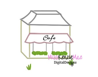 Paris Cafe Store Building Machine Applique Embroidery Design, Mulitple Sizes