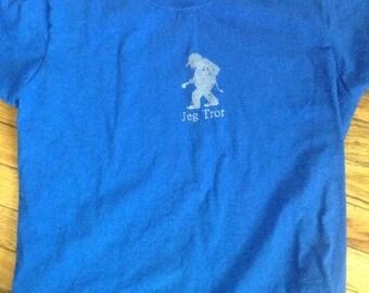 Norwegian Troll Shirt Jeg Tror dark blue woman's fitted