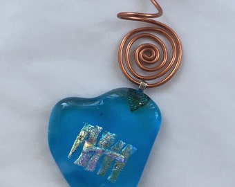 Turquoise Heart with Vibrant Dichroic Patch Ornament