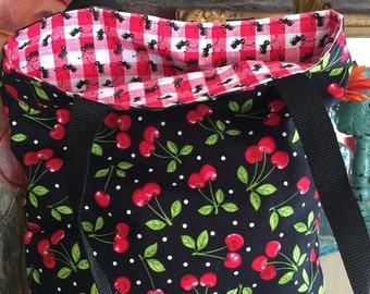 Reversible Cherry Cherries Ants tote