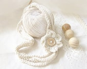Candy Crochet Necklace with Flower in Organic Cotton Color.. wood button Eco-Friendly