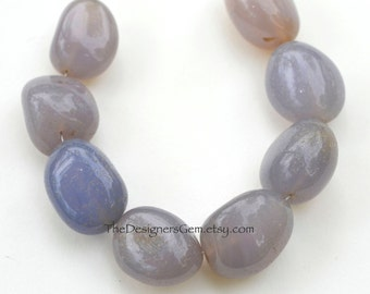 Periwinkle Blue Purple Chalcedony Smooth Polish Oval Round Beads 25 x 20mm -1/2 STRAND