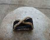 Fashionable Seed Beads size 9 Ring. Handmade Beaded Under 5 Gold and Black ArtDeco