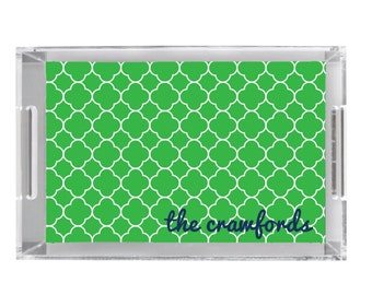 """Decorative Lucite Tray with Personalization - 11"""" x 17"""" - Breakfast Tray - Serving Tray - Hostess Gift - Wedding Gift - Retirement Gift"""