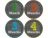 Monthly Baby Stickers, Neutral Monthly Bodysuit Stickers, Monthly Stickers, Baby Month Stickers, Baby Monthly Stickers, Chalkboard (N051)