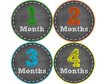 Monthly Stickers, Photo Props, Monthly Baby Stickers, Monthly Baby Photos, Baby Gift, Milestone Stickers, Chalkboard (N051)