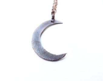 Crescent Moon Necklace - Rustic, Pagan, Retro, Vintage Inspired Copper Moon Necklace