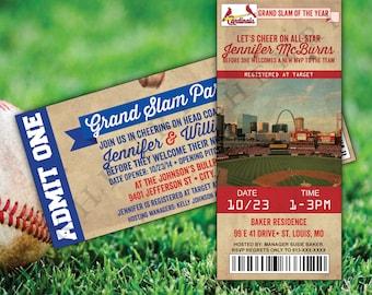 Baseball Shower Invitations - printable - Baseball card - Baseball ticket