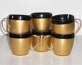 Insulated Thermal Coffee Cups NFC Vintage Plastic Black Gold Wire Handles