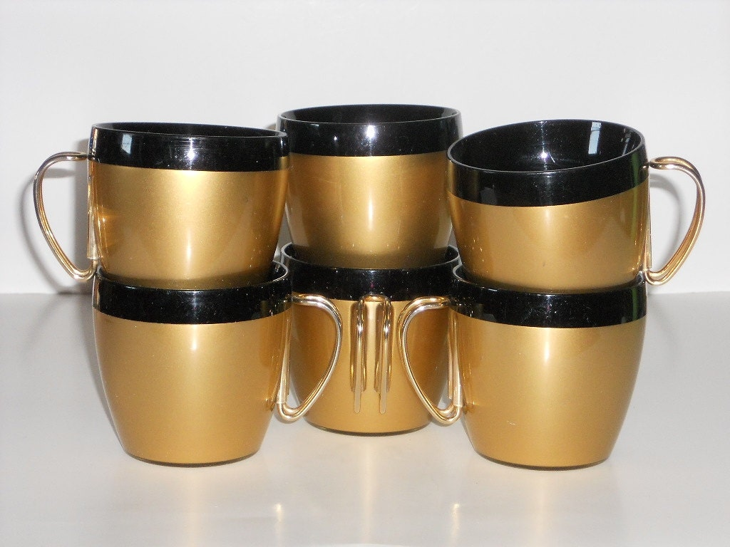 Insulated Thermal Coffee Cups NFC Vintage Plastic Black Gold
