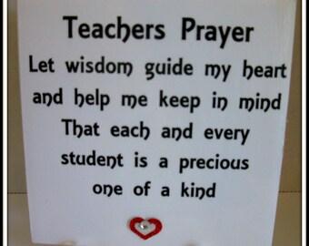 Teachers Prayer Teacher Quote Tile  Teachers Gift  Teacher Appreciation Teachers Hero