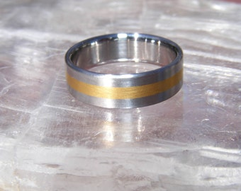NEW Cobalt Chrome 24K gold center line Wedding Band Ring
