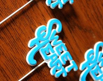 Set of 5 Vintage Blue Sweet Heart Sticks Valentines Day