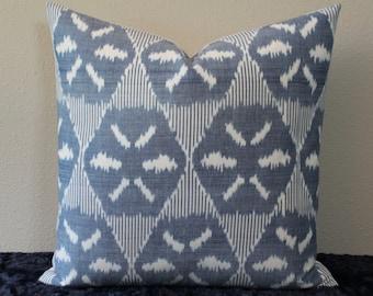 """SET Of TWO - 20"""" x 20"""" Schumacher Darjeeling Ikat in Denim - Decorative Designer Pillow Covers"""