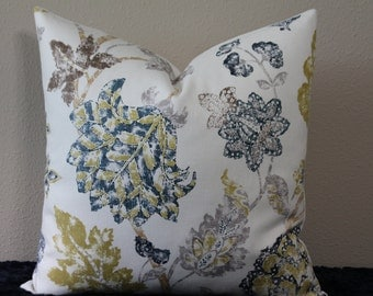 "BOTH SIDES - Kravet Kyrie Floral/Jacobean Print in Indigo - 18"", 20"", 22"" or 24"" Square Decorative Pillow Cover"