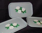 3 Vintage Metal Serving Trays - Shabby Chic - Cottage Chic - Mid Century - Easter Decor - Serving - Free U.S. Shipping