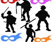 Ninja Turtles Silhouettes Clipart Clip Art Digital Scrapbooking Commercial Use - printable clipart - Instant Download  - DP354