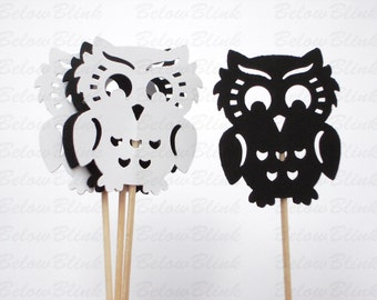 12 Black and White Owl Cupcake Toppers, Toothpicks, Party Picks, Food Picks, Party Supplies - No376