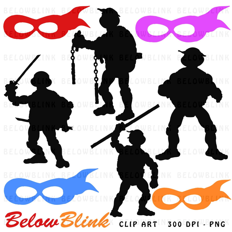Ninja Turtles Silhouettes Clipart Clip Art Digital