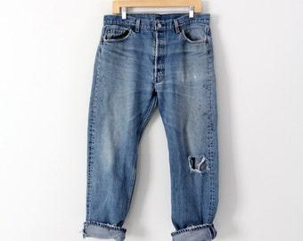 1980s Levi's 501 denim jeans, crop Levis, 35 x 28