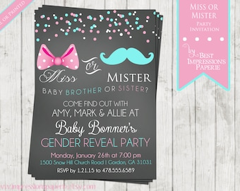 Miss or Mister - Chalkboard Gender Reveal Party Invitation - Pink or Blue - Bow or Mustache