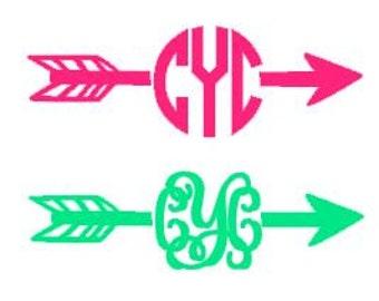 Arrow Monogram Decal - Car Decal - Arrow - Aztec - Tribal