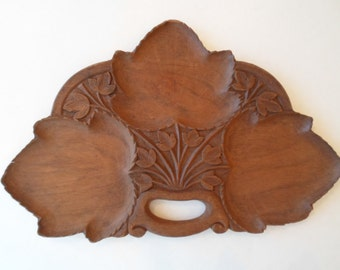 Vintage Wooden 3 Leaf Dish with Handles  Wood Cuts Home Decor shabby chic