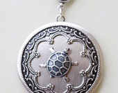 Turtle,Locket,Silver Locket,Jewelry Gift, Pendant,locket necklace,photo locket,vintage locket,Wedding Necklace,bridesmaid necklace