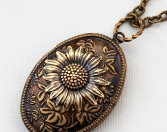 Locket, Jewelry Gift,Sunflower Brass Locket, locket necklace,photo locket,brass oval locket,brass locket,Wedding Necklace