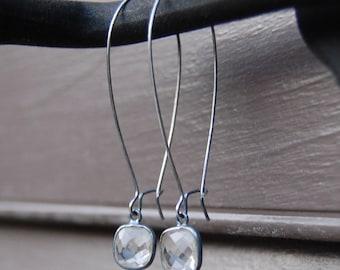 Faceted Crystal Quartz in Sterling Silver Bezel Earrings