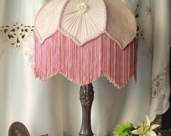 Vintage Parlor Lamp Boudoir Vanity Lamp Fringed Shade Victorian Style Bronze French Accent Shabby Cottage Decor Working Lamp Vintage 1940s