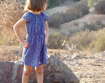 Girls Dress Vibrant Blue Vintage Fabric with Flowers Sizes 2T Through 7Y Available