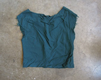 Vtg Handmade Dark Green Blue Rayon Crinkle Top Size Small to Medium Raw Edges