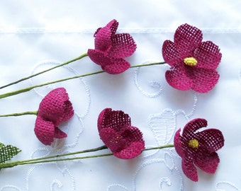 Burlap Flower Red Violet Two Stems Five Flowers