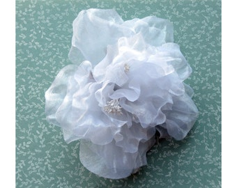White Organza Peony Six Inch Sheer Flower