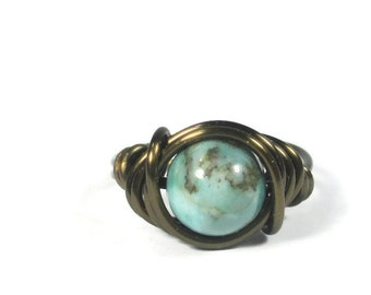 Green Jasper Jewelry - Wire Wrapped Boho Ring