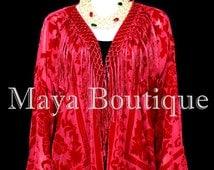 True Red Kimono Fringe Jacket SILK Burnout Velvet Short Maya Matazaro Plus Size 3X-5X