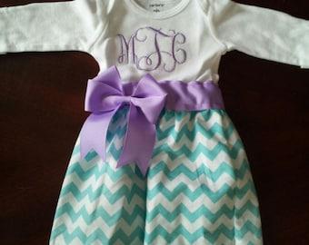 Aqua Chevron Baby Gown with Lavendar ribbon, bows and monogram