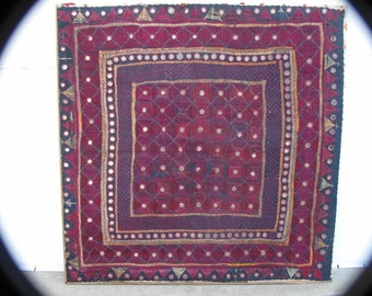 "Vintage GujaratTextile, Rumal, Framed, Blue and Purple Hand Embroidery Mirror Work Square-27.5""sq"