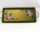 Vintage 1930s Hand Painted Vanity Tray Glass Top