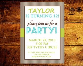 custom birthday invitations, kids birthday invitations, boy birthday invitations, girl birthday invitations, adult birthday invitations