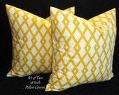 Decorative Pillows, Accent Pillows,Throw Pillows, Pillow Covers, Home Decor - Set of Two 18 Inch-Butter Yellow and White