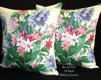 Decorative Pillows, Cushion Covers, Throw Pillows, Accent pillows, Home Decor - Set of Two 18 Inch - Purple and Rose Floral