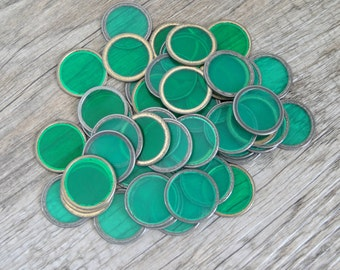 Lot of 50 Vintage Green Magetic Bingo Markers